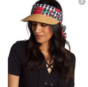 NWT BJ Betsey Johnson Tan Gingham Rose Visor Hat